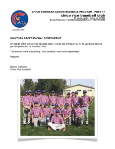 Chico Rice Baseball Club letter of thanks for the jersey screenprinting donation